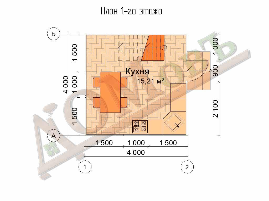 Каркасный дом 4x4 - планировка 1 этажа