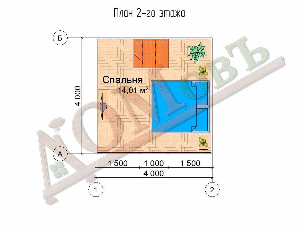 Каркасный дом 4x4 - планировка 2 этажа
