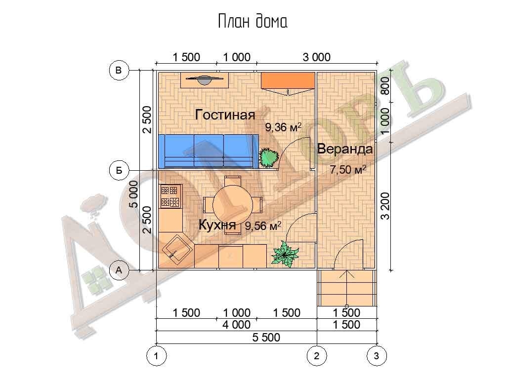 Каркасный дом 4х5 с верандой 1,5х5 - планировка
