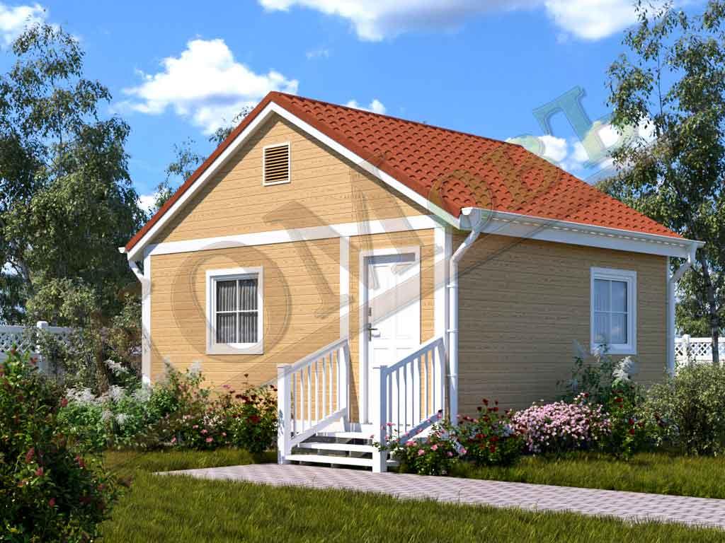 Каркасный дом 4х5 с верандой 1,5х5
