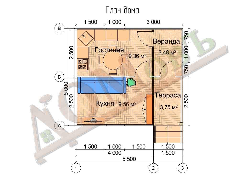 Каркасный дом 4х5 с террасой и верандой 1,5х2,5 - планировка