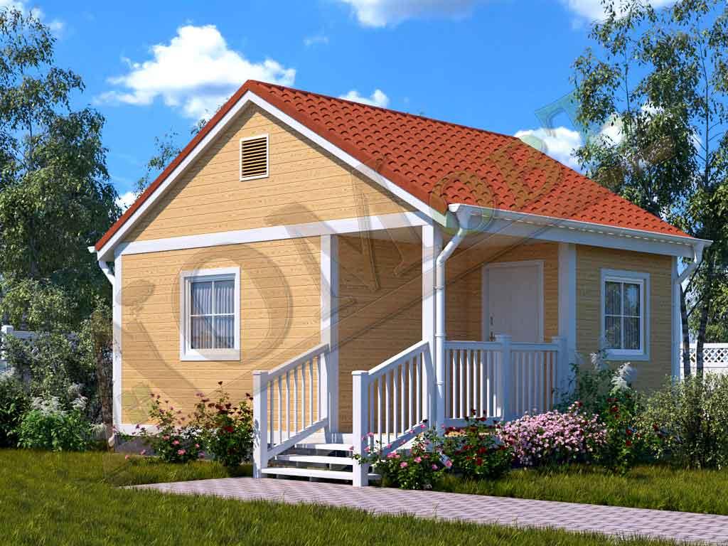 Каркасный дом 4х5 с террасой и верандой 1,5х2,5