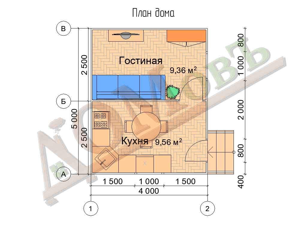 Каркасный дом 4х5 - планировка