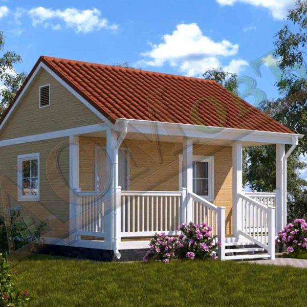 Каркасный дом 4х5 с террасой 1,5х5