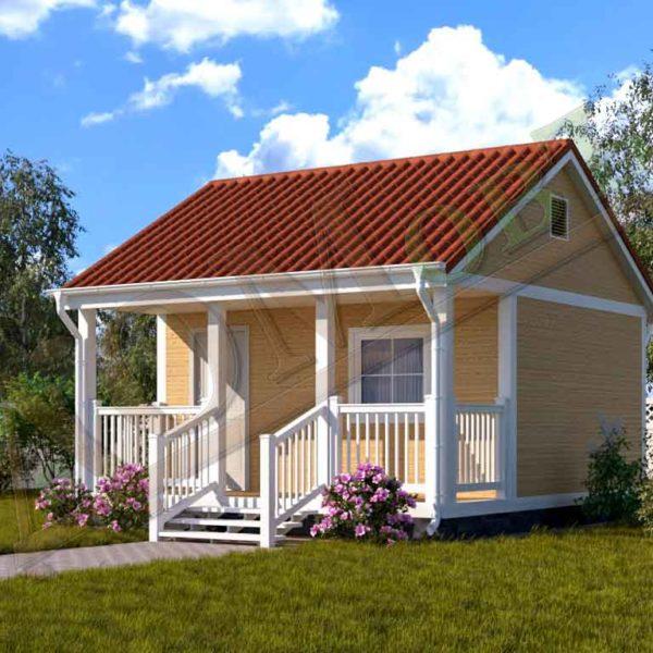 Каркасный дом 4х5 с террасой 1,5х5 - ракурс 2