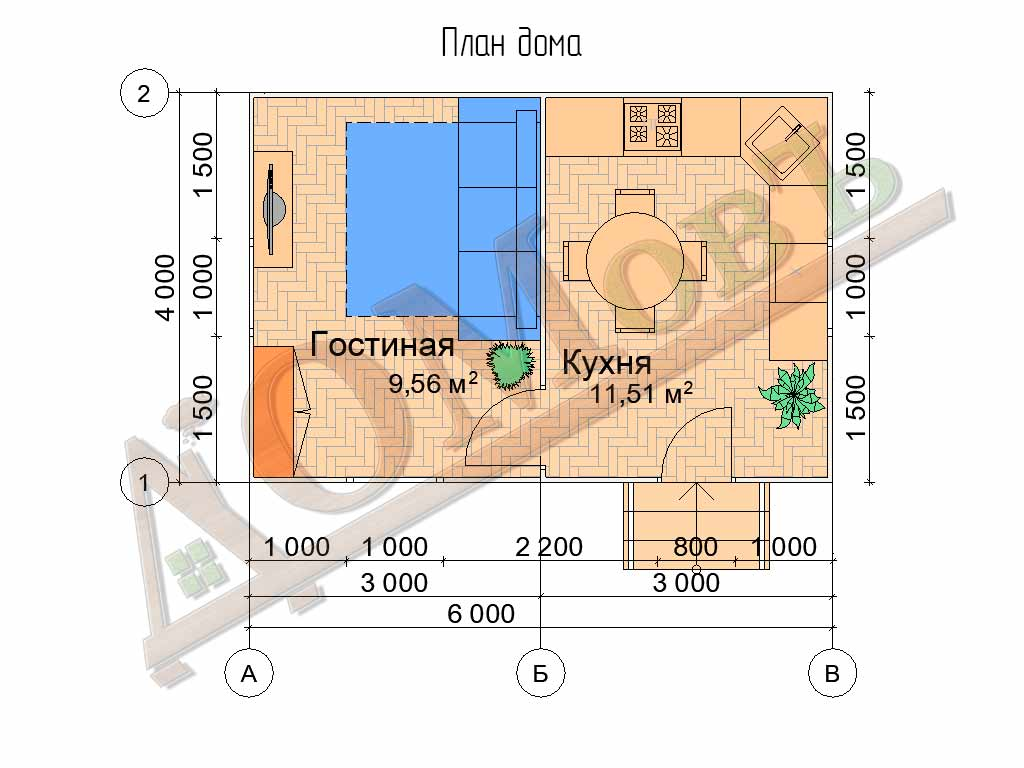 Каркасный дом 4х6 - планировка