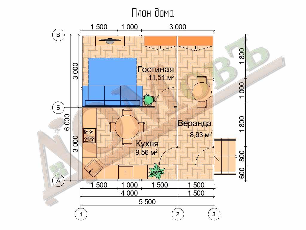 Каркасный дом 4х6 с верандой 1,5х6 - планировка