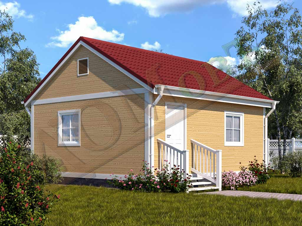 Каркасный дом 4х6 с верандой 1,5х6