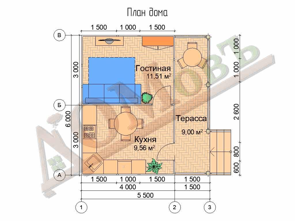 Каркасный дом 4х6 с террасой 1,5х6 - планировка