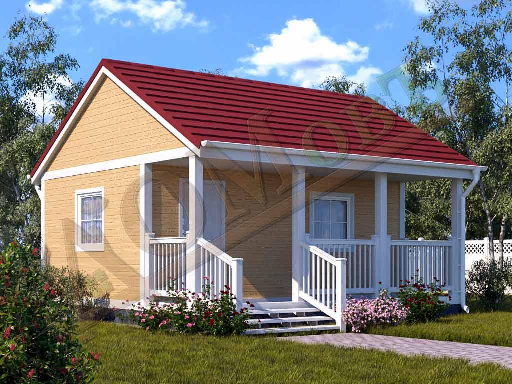 Каркасный дом 4х6 с террасой 1,5х6 - ракурс 2