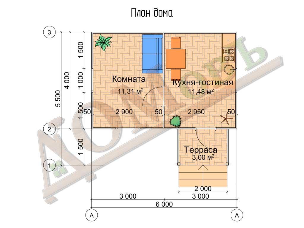 Каркасный дом 4х6 с террасой 1,5х2 - планировка