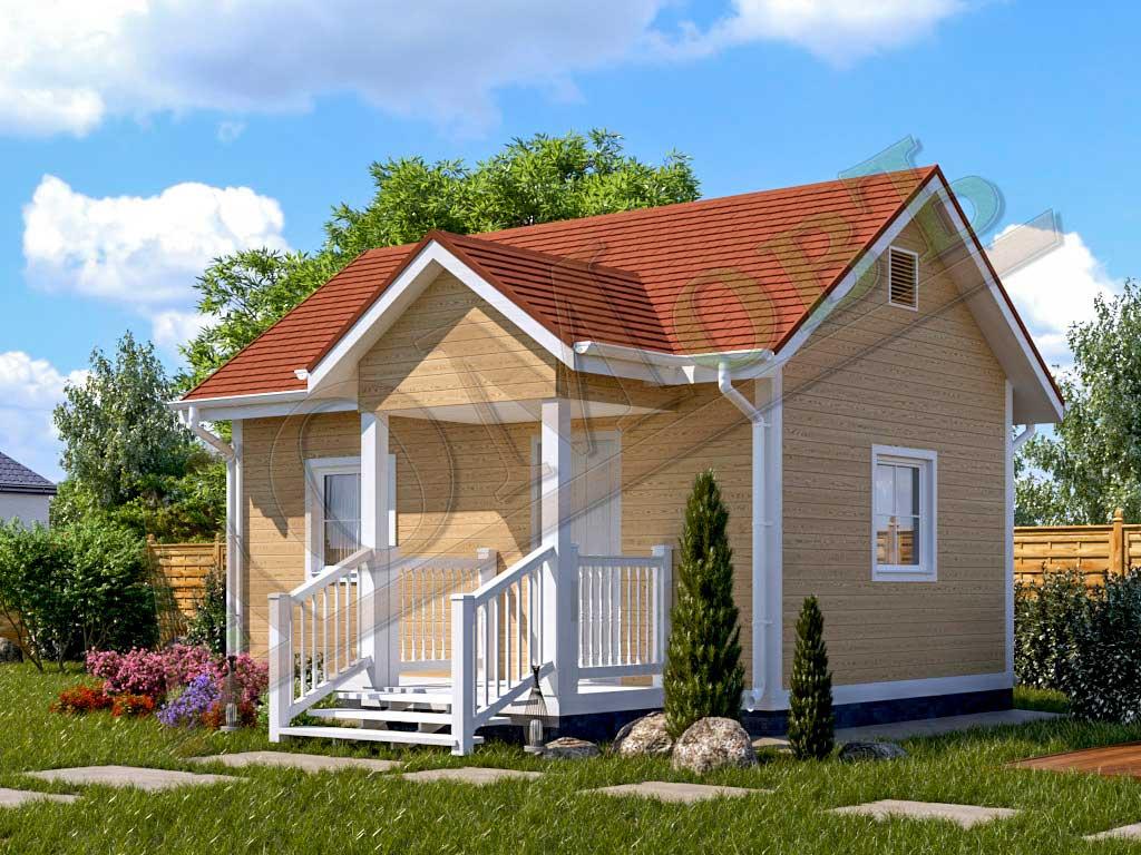 Каркасный дом 4х6 с террасой 1,5х2