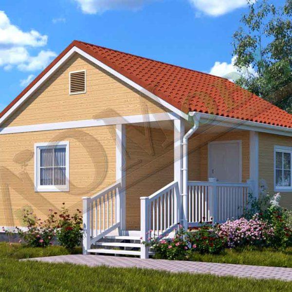 Каркасный дом 4х6 с террасой и верандой 1,5х3