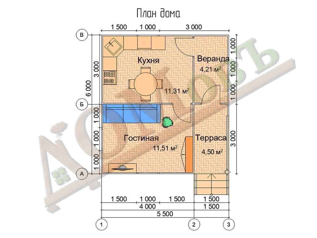 Каркасный дом 4х6 с террасой и верандой 1,5х3 - планировка