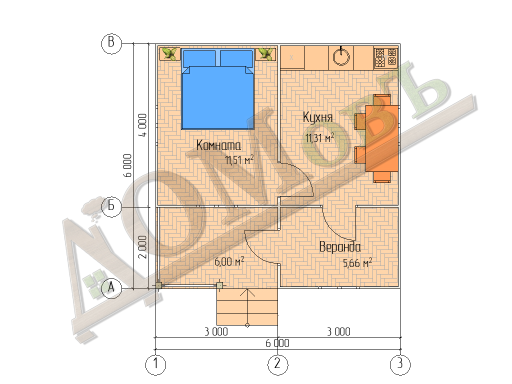 Каркасный дом 4х6 с террасой и верандой 2х3 - планировка