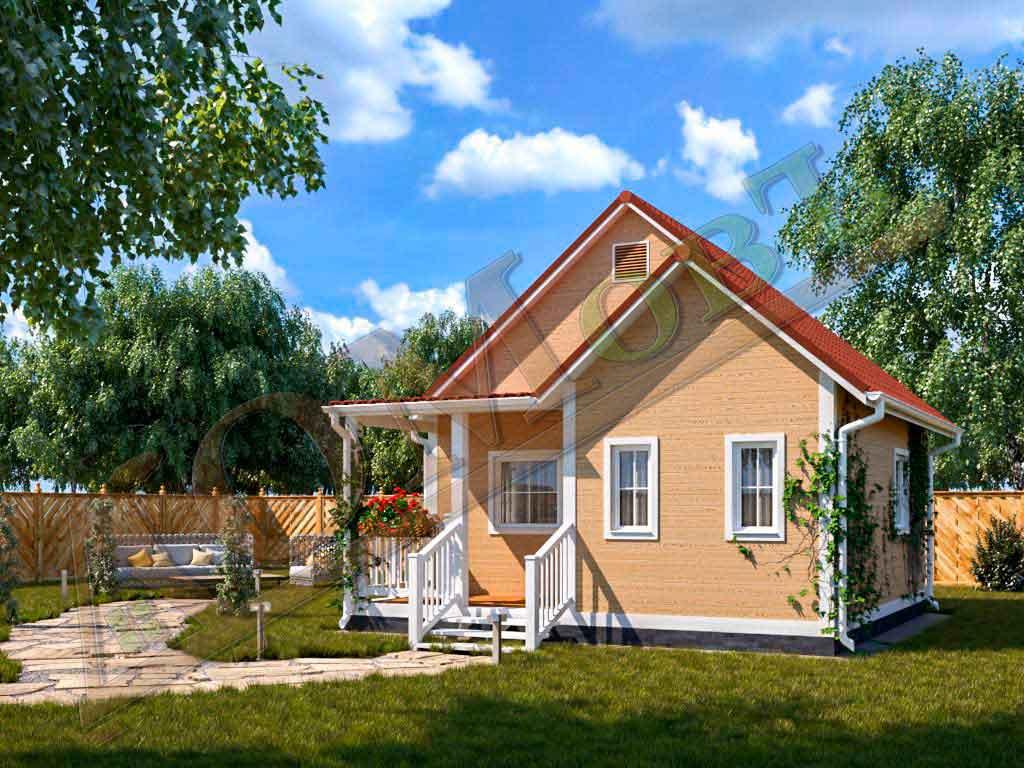 Каркасный дом 4х6 с террасой и верандой 2х3 - ракурс 2