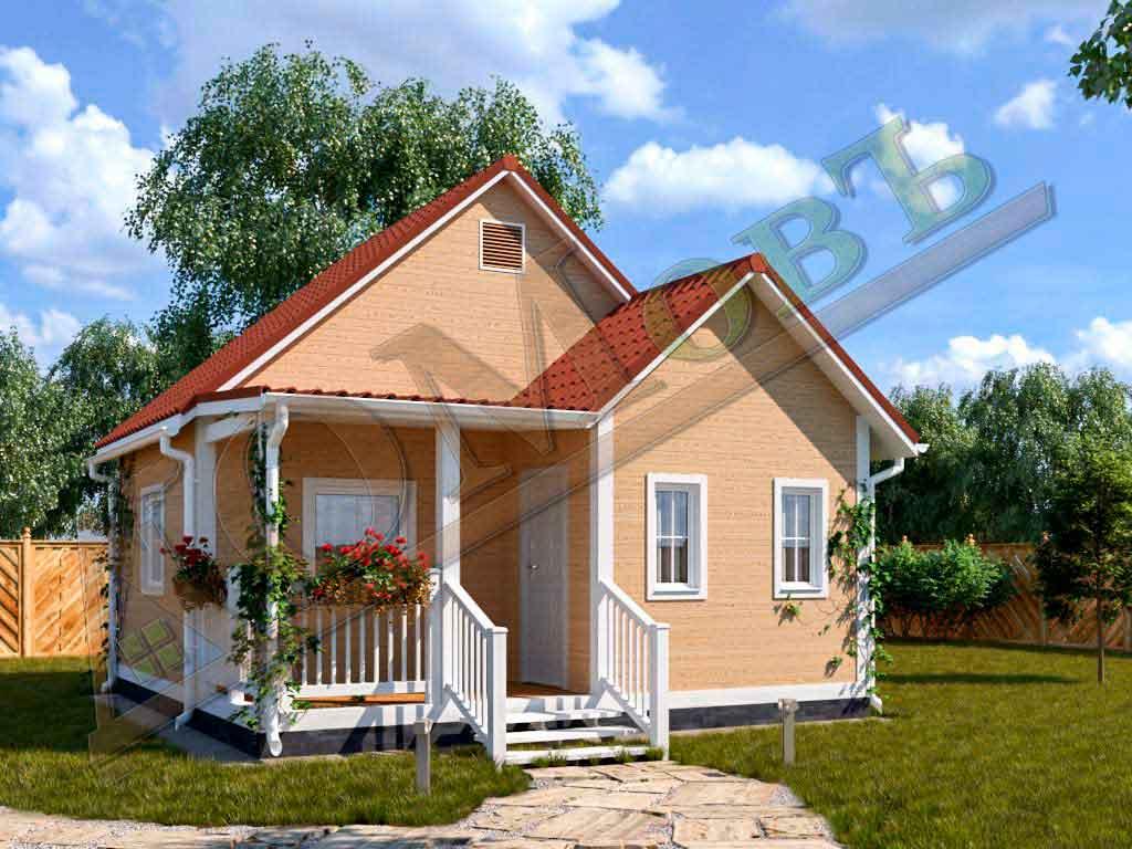 Каркасный дом 4х6 с террасой и верандой 2х3