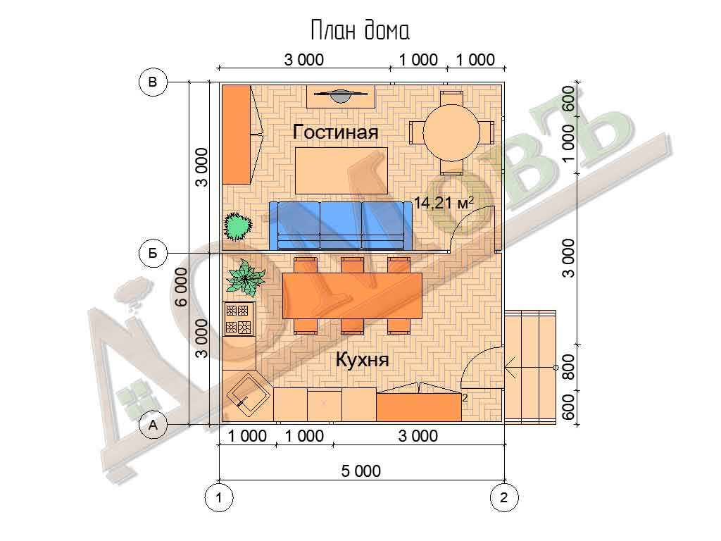 Каркасный дом 5х6 - планировка