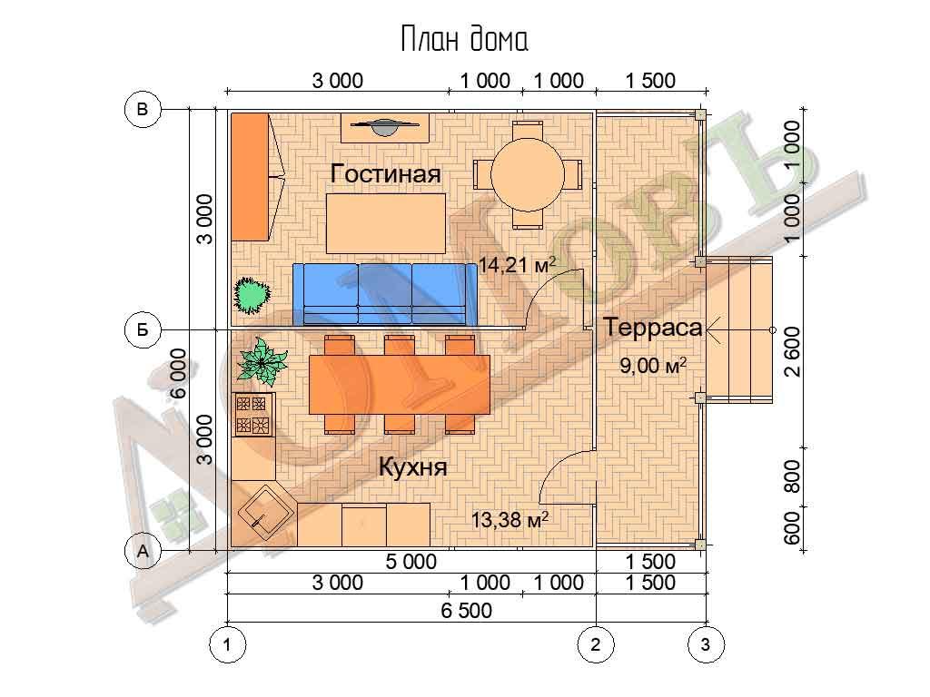 Каркасный дом 5х6 с террасой 1,5х6 - планировка