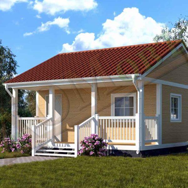 Каркасный дом 5х6 с террасой 1,5х6 - ракурс 2