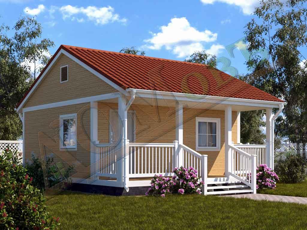 Каркасный дом 5х6 с террасой 1,5х6
