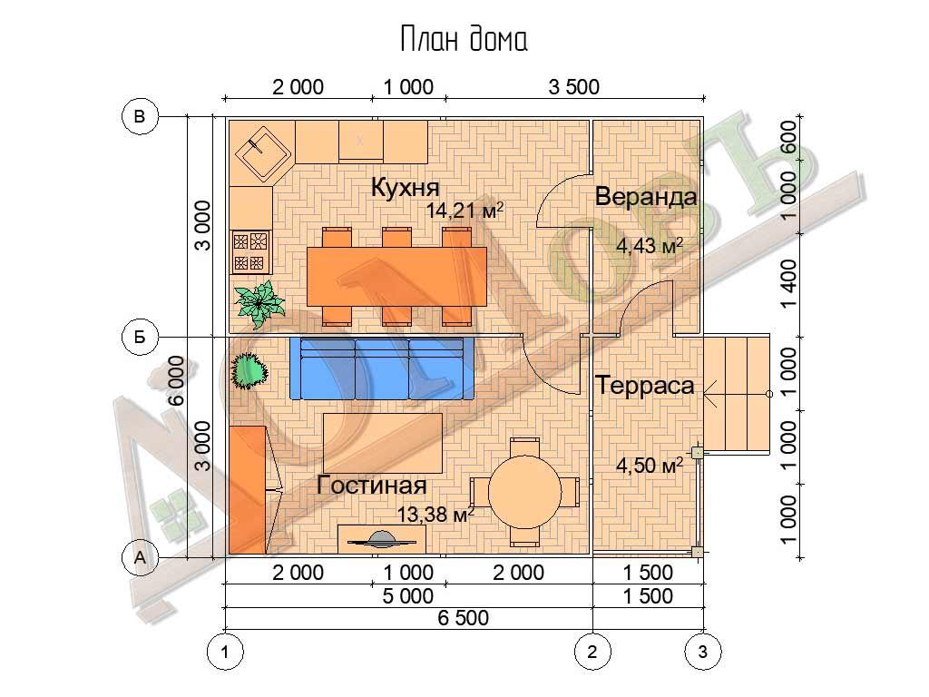 Каркасный дом 5х6 с террасой и верандой 1,5х3 - планировка