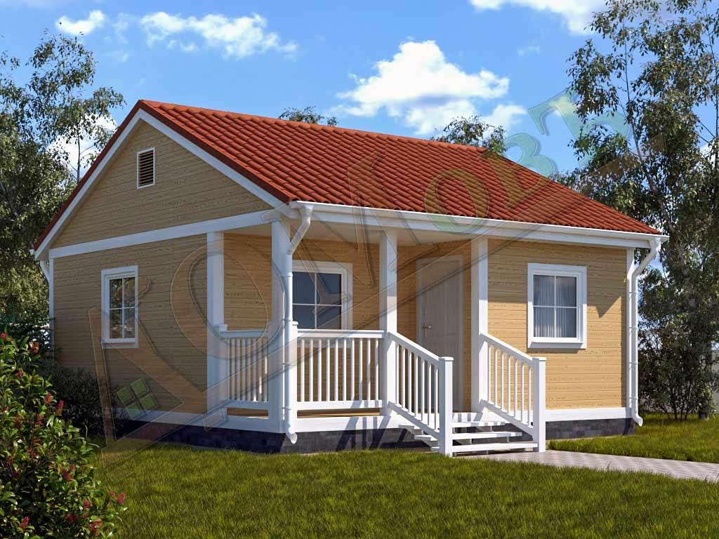 Каркасный дом 5х6 с террасой и верандой 1,5х3 - ракурс 2