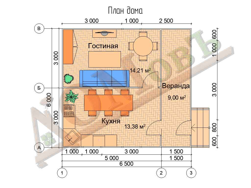 Каркасный дом 5х6 с верандой 1,5х6 - планировка