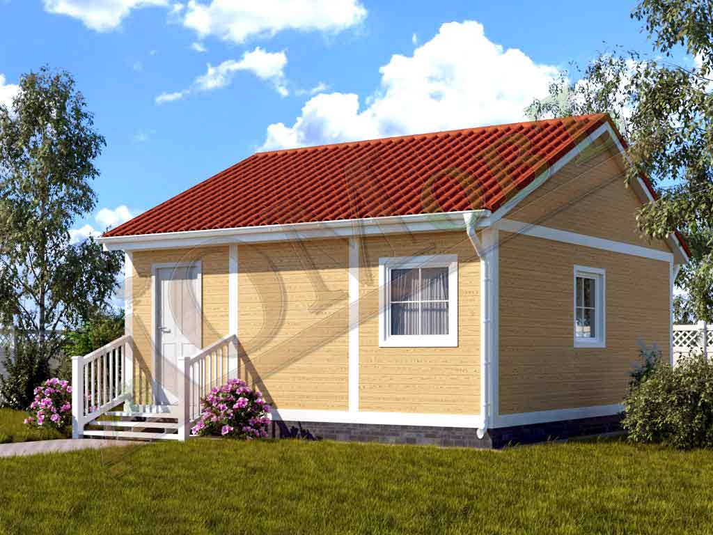 Каркасный дом 5х6 с верандой 1,5х6 - ракурс 2