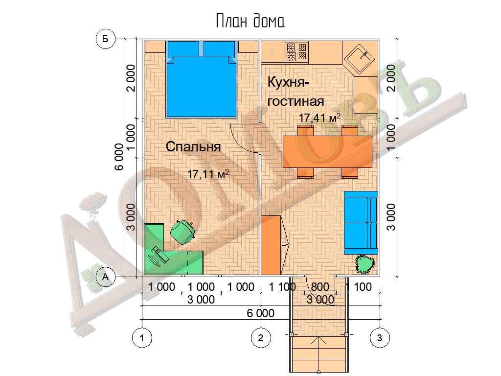Каркасный дом 6х6 - планировка