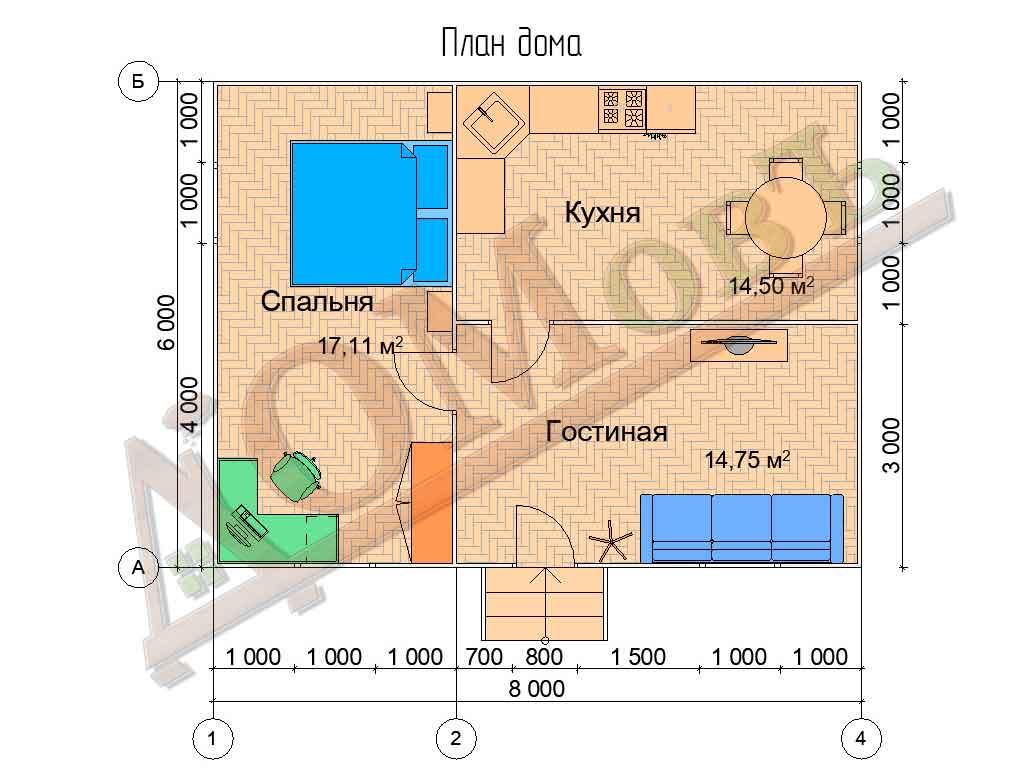 Каркасный дом 6х8 - планировка