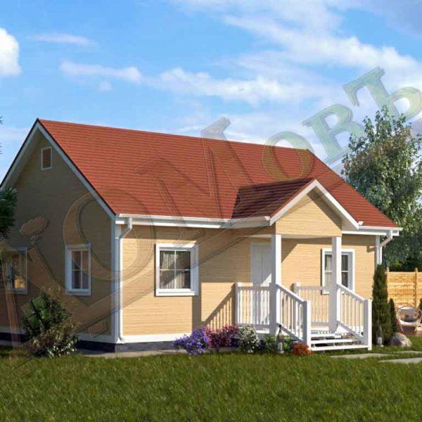 Каркасный дом 6х8 с террасой 1,5х2