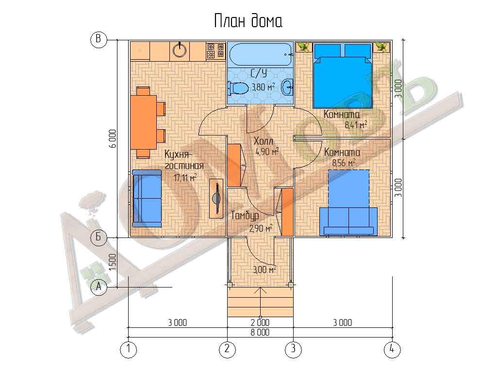 Каркасный дом 6х8 с террасой 1,5х2 - планировка