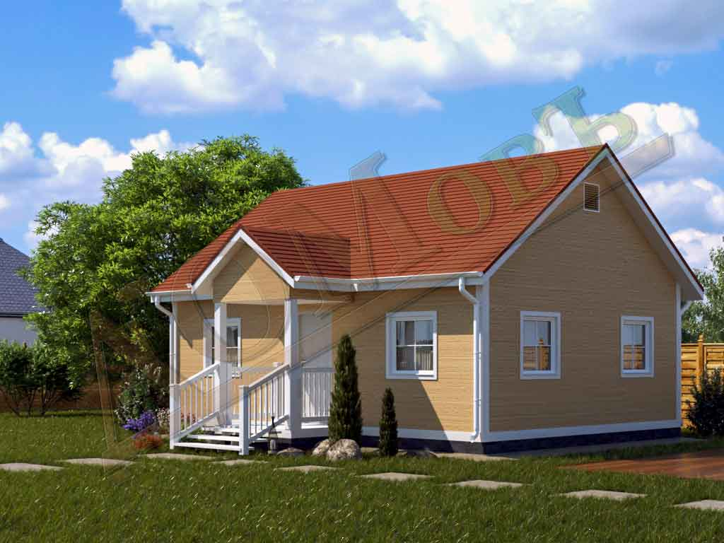 Каркасный дом 6х8 с террасой 1,5х2 - ракурс 2