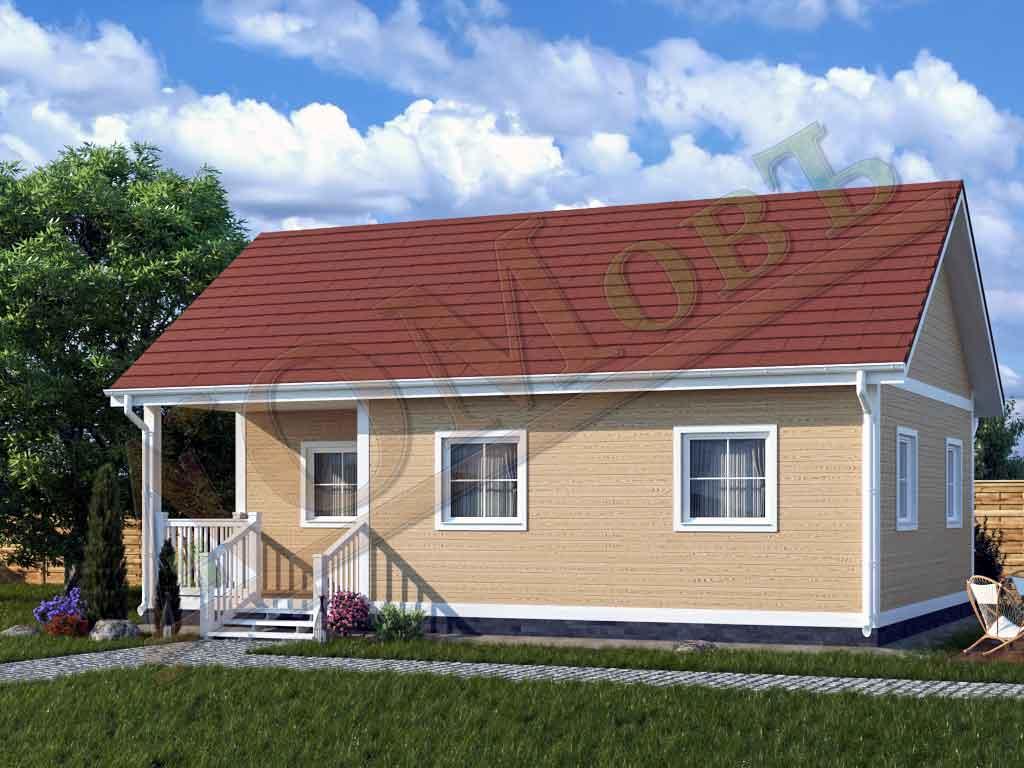 Каркасный дом 6х9 с террасой 2х3 - ракурс 2