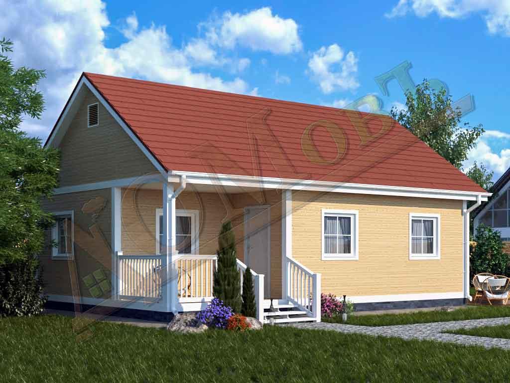 Каркасный дом 6х9 с террасой 2х3