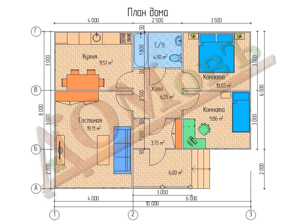 Каркасный дом 8х10 с террасой 2х3 - планировка