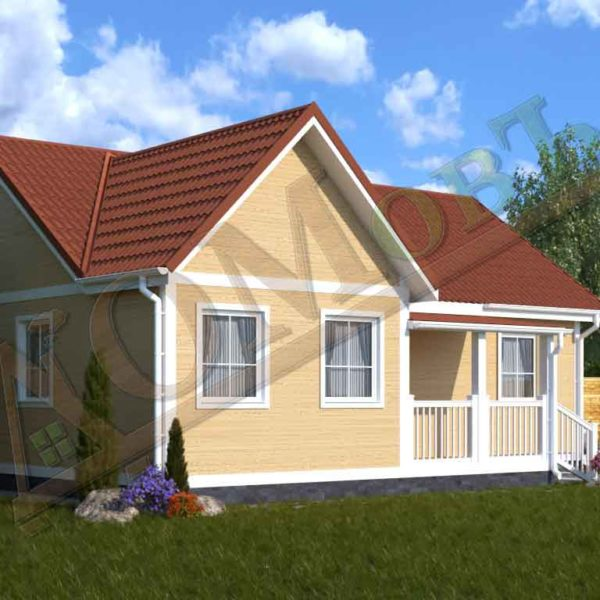 Каркасный дом 8х10 с террасой 2х3 - ракурс 2