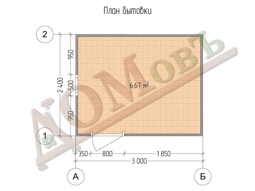 Бытовка - хозблок 2,4x3 - планировка