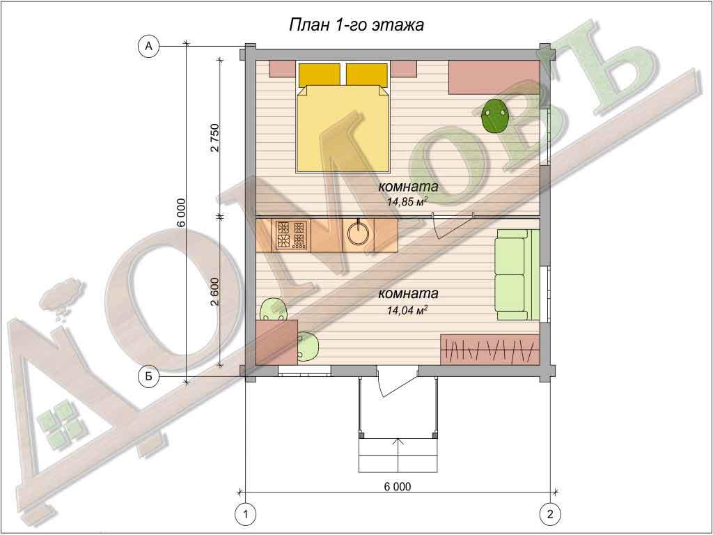 Дом из бревна 6x6 - планировка 1 этажа