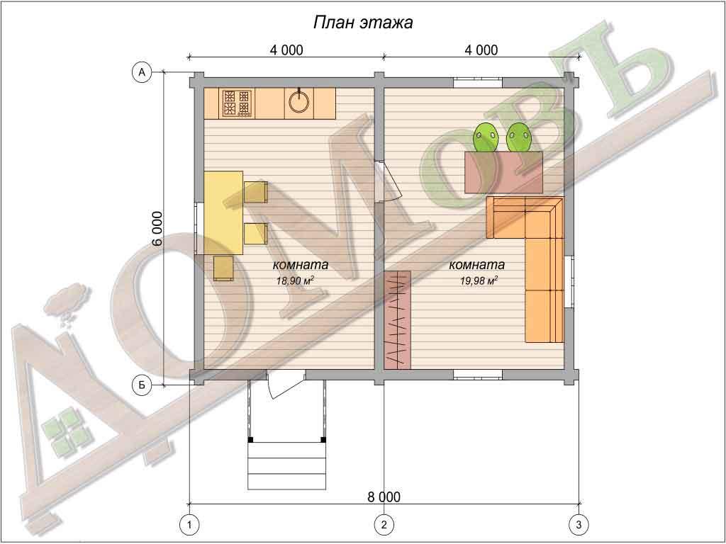 Дом из бревна 6x8 - планировка 1 этажа