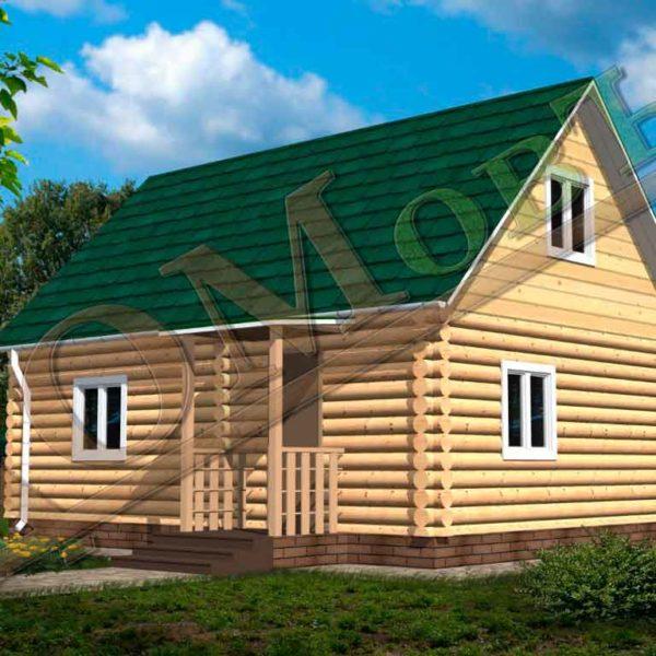 Дом из бревна 6x8 из оцилиндрованного бревна + мансарда (каркас)