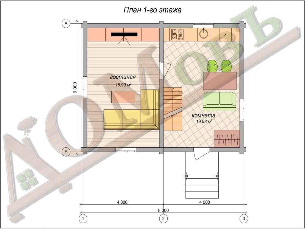 Дом из бревна 6x8 из оцилиндрованного бревна + мансарда (каркас) - планировка 1 этажа