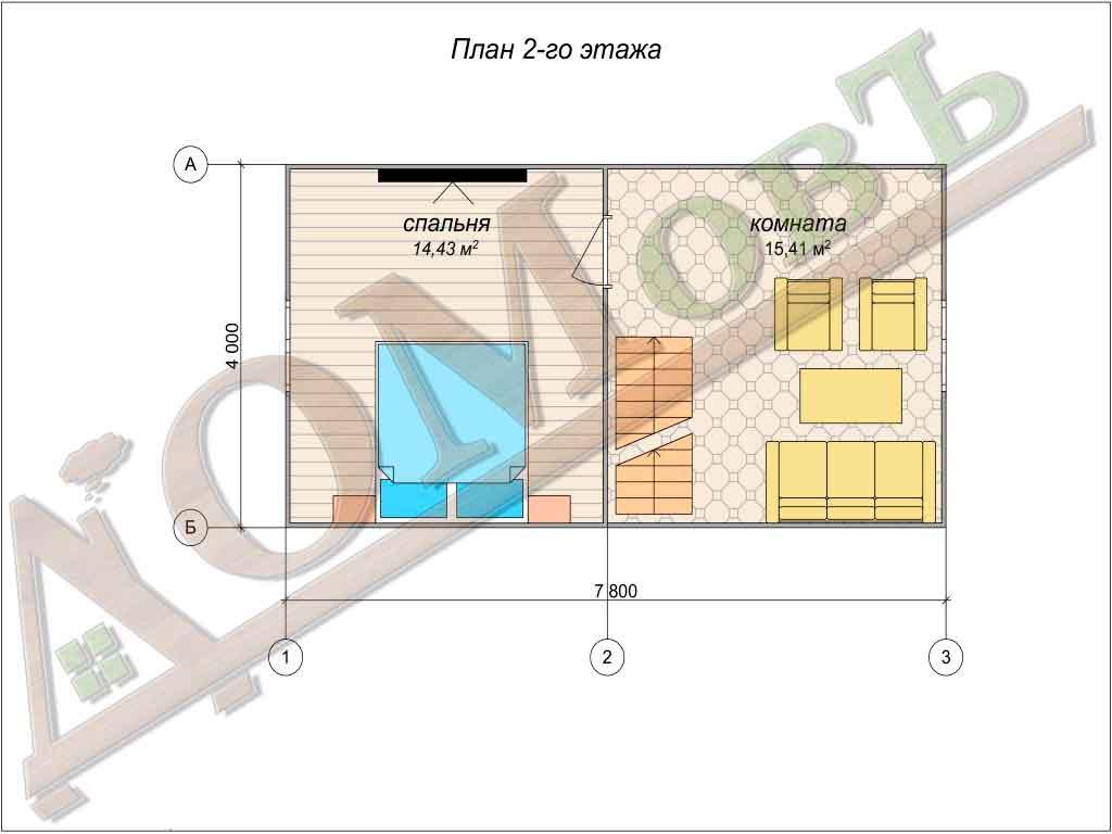 Дом из бревна 6x8 из оцилиндрованного бревна + мансарда (каркас) - планировка 2 этажа