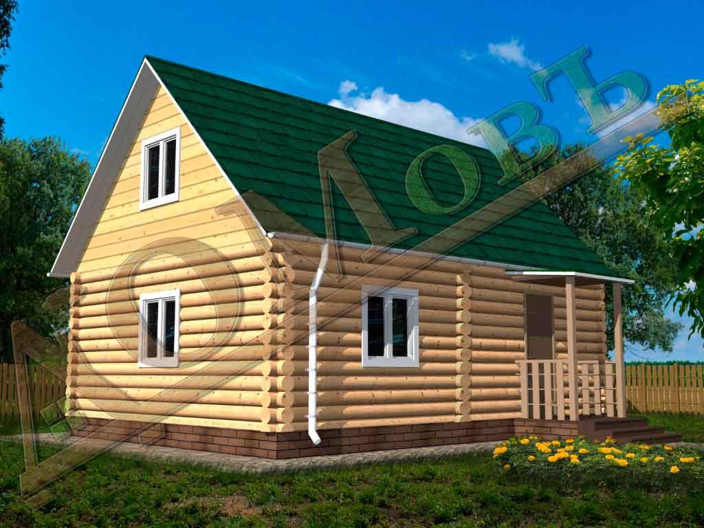 Дом из бревна 6x8 из оцилиндрованного бревна + мансарда (каркас) - ракурс 2