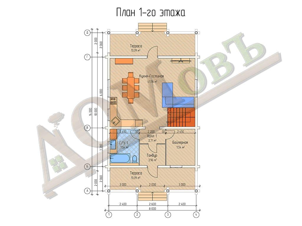 Дом из бревна 8x14 - планировка 1 этажа
