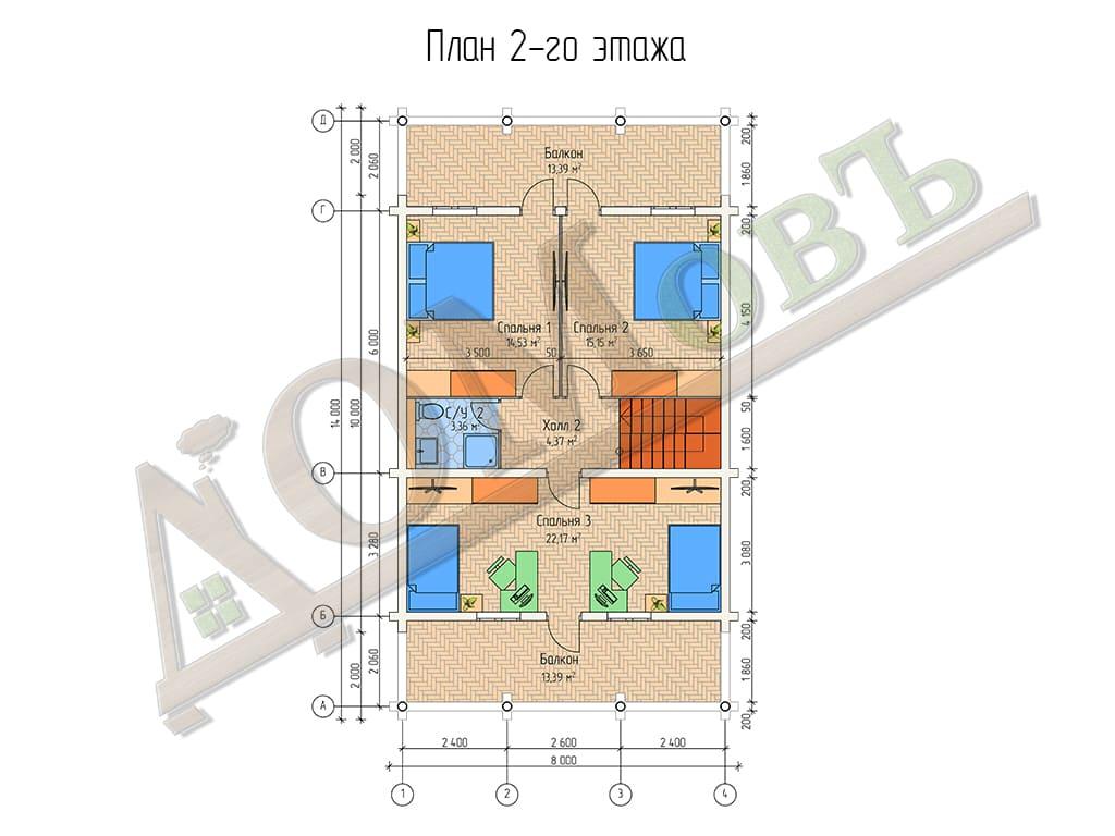 Дом из бревна 8x14 - планировка 2 этажа