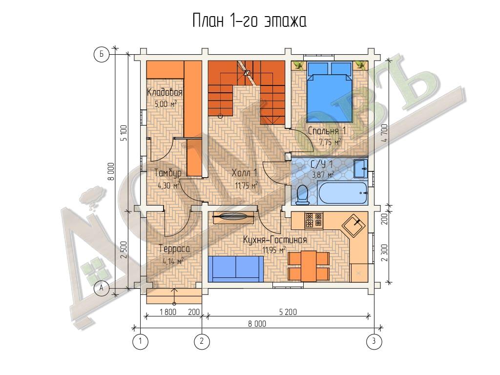 Дом из бревна 8x8 - планировка 1 этажа
