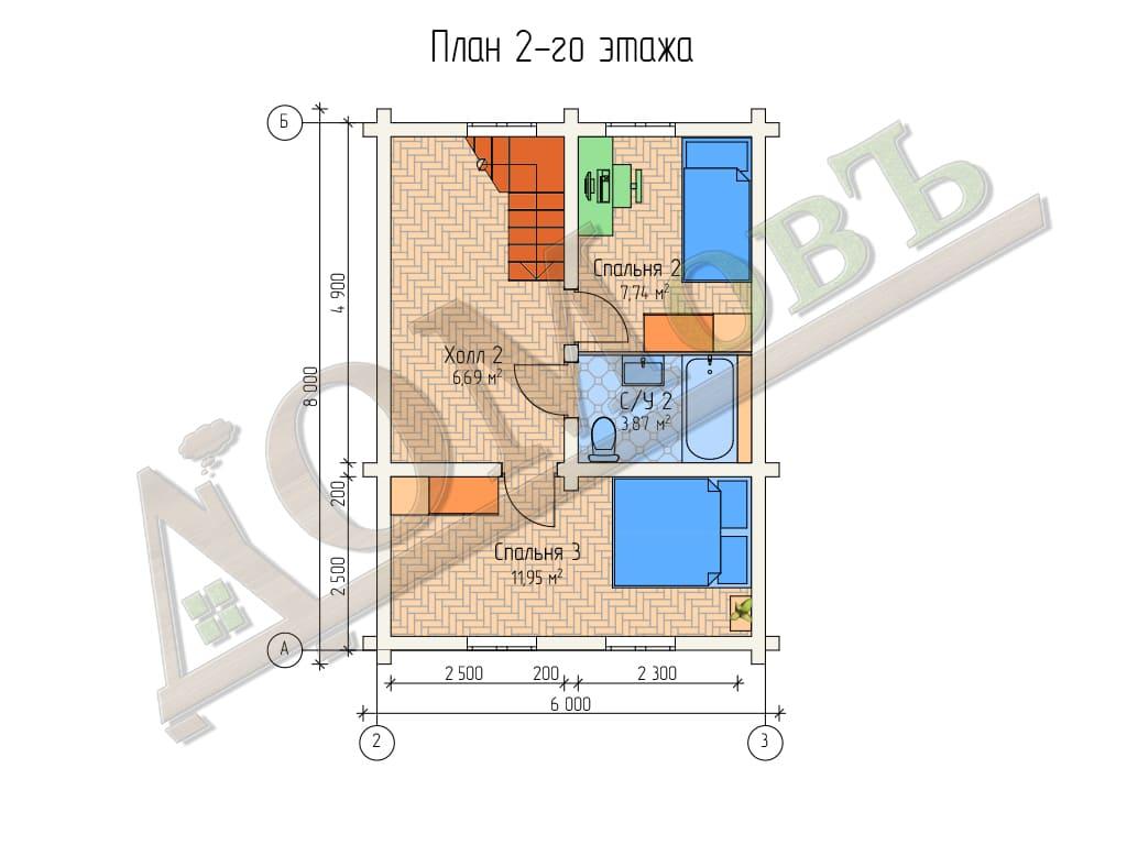 Дом из бревна 8x8 - планировка 2 этажа