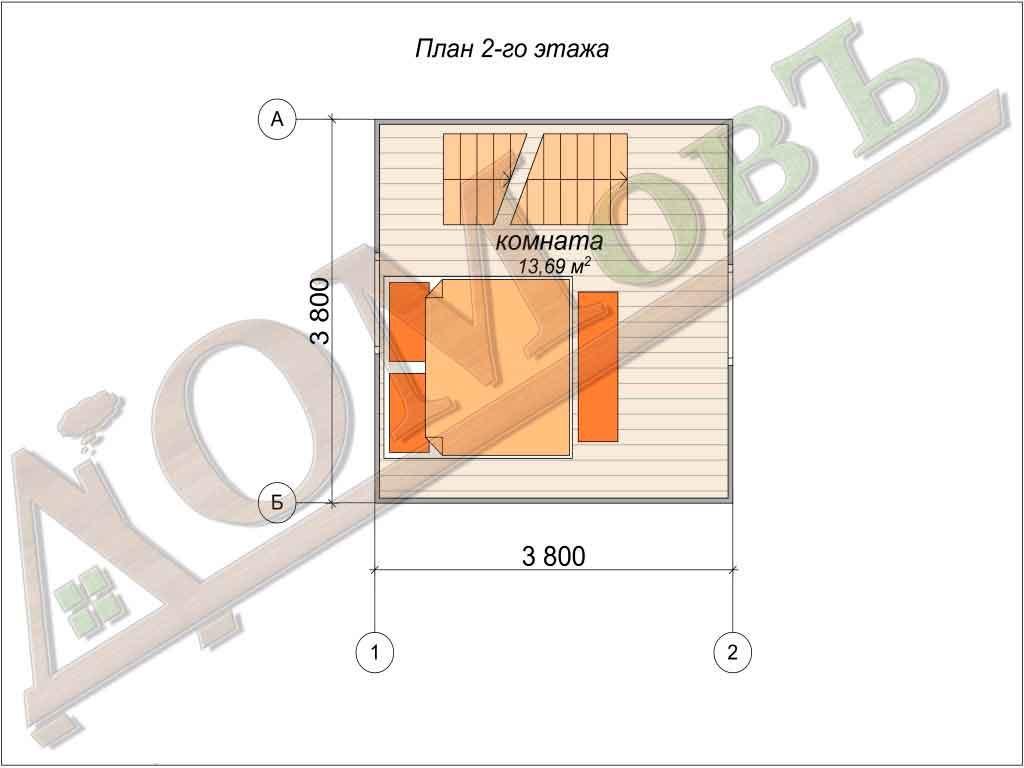 Дом из бруса 4x4 - планировка 2 этажа